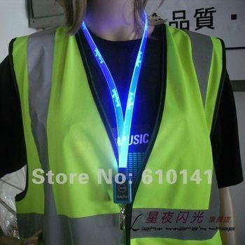 Free shipping 10pcs/lot LED neck strap flashing neck strap lanyard optical fiber neckstrap Multi funtions flat shape
