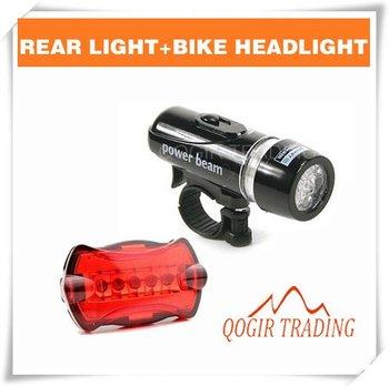 Waterproof LED Bike Bicycle Head Light+Rear Flashlight 6059