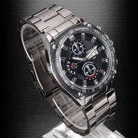 1x Small Dial-Deocr Date Day Men Quartz Sport Black Stainless Steel Watch STL  NT0390