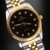 1x Women 2-Tone Fashion High Quality Japan Quartz Black Crystal Watch stl hch  248TN