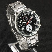 Luxury Vogue Men Steel Band Black 3-Dial-Decor Date Quartz Watch stl hch  NT0158