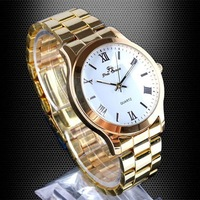 Luxury White Quartz Wristwatch for Men Golden Band and Case Rim STL  NT0351