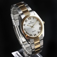 Free CN Post Men Silvery Dial Golden Case Rim 2-Tone Band Quartz Watches stl hch  NT0157