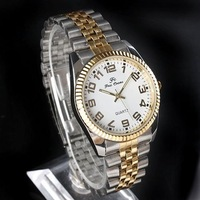 1pcs Men Quartz Fashion Two-Tone White Dial Stainless St'l Band Watches stl hch  NT0153