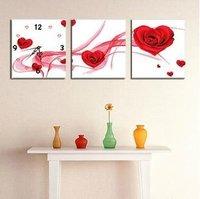 Triptych Romantic And Beautiful Rose Love Wall Clock Cotton Cross Stitch + Free Shipping