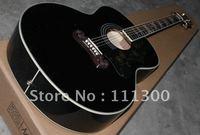 New black AJ200S SJ200 acoustic guitar free shipping