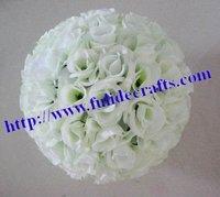 artificial silk kissing decoration flowers ball-off white 30cm plastic center-optional color