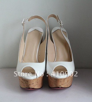 Free shipping White Color Fish-toe Slingback Wedge  Platform Sandal, WHITE LEATHER CORK WEDGE OPEN TOE STRAPPY HEEL NIB 10