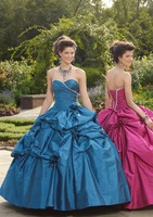 New arrival!taffeta flowers lace up flowers custom-made ball gown prom dress 2013