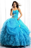 New arrival!Free shipping! strapless ball gown pleated multi-layers custom-made ball gown prom dress 2013