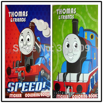 Free Shipping, 21*28cm Thomas Design-Kids Cartoon Coloring Books/ Stickers & Drawing Book/Children Gift, 8 pcs/lot