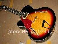Wholesale -   most popular left hand black and red circle hollow electric guitar Free shipping