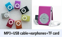 40 pcs free shipping Clip MP3 Music player with card slot mini mp3 player 8 color+usb cable+earphone+Memory card SL03f