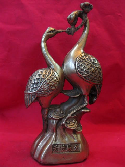 Rare Qing Dynasty 1736-1795 Copper Crane Statue Decoration(China (Mainland))