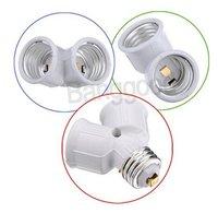 100pcs/lot  E27 Base Light Lamp Bulb Socket 1 to 2 Splitter Adapter