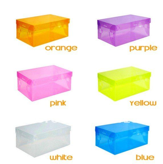 free shipping Transparent Women lady Stackable Crystal Clear Plastic Shoe Storage Boxes case organizer 7 colors in stock(China (Mainland))