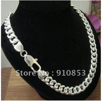 Free shipping 12mm*22'' Wholesale surprising   men's 925 sterling silver snake chain necklace