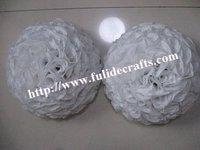30cm plastic center white artificial flowers ball,wedding flower,holiday decoration
