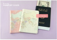Part Free Shipping!! Map of the world / Fashion Korean Style Passport Holder/card case//passport cover,4 color instock,wholesale