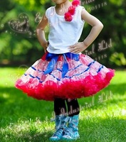 Wholesale - 2014 Childrens Tutus For Girl With Sky Blue Satin Stripe Age:2-7Y Lovely Girl Stripe Pettiskirt Sample Supported