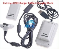 Free shipping 4800mAh 2*Rechargeable Battery+USB Charger Cable+Charging Dock  for Xbox 360 Controller