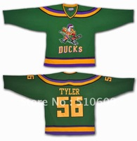 Christmas Costumes Russ Tyler  #56 Mighty Ducks Movie Hockey Jerseys Stitch Sewn Green Mix order