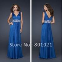 Free Shipping Romantic New Design A-line V Neck Royal Blue Floor Length Mature Evening Dresses