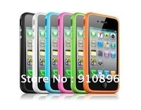 Stylish Bumper Rubber Case Hard Shell Cover For Apple iPhone 4 4G+FREE SHIPPING