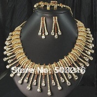 Free Shipping High Quality Austrian Crystal 18 K Gold Plated Promotion Fashion Rhinestone Wedding Jewelry Set