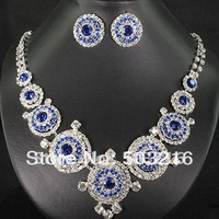 Free Shipping High Quality Austrian Crystal Rhodium Promotion Blue Imitation Diamond Wedding Jewelry Set