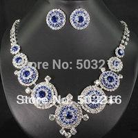 Free Shipping High Quality Austrian Crystal Rhodium Promotion Blue Imitation Diamond Wedding Jewelry Set