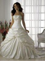 2012 new arrival strapless wedding dress church beaded satin brdial gown applique custom 104
