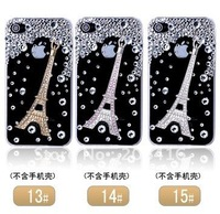 DIY Bling 3D Crystal Camellia and Bowknot Cell Phone Case Kit for Iphone 4 4S Decoration