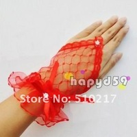 20pair fingerless Wedding gloves lace hook finger banquet  hollow pattern bridesmaid gloves bow bride