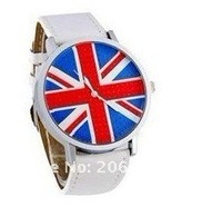 WOMAGE UK Flag Dial Men's Analog Watch (Black),The British flag Watch,free shipping