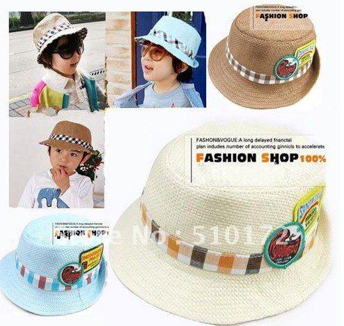 Children checked paper cowboy hat, baby summer bucket cap, kids sun hat, children topee, baby headwear free shipping(China (Mainland))