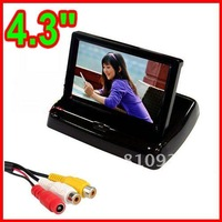 4.3 Inch folding TFT-LCD 960 x 240 Car Rearview Reverse Monitor For Parking with 2-channel Video Input, Free Shipping