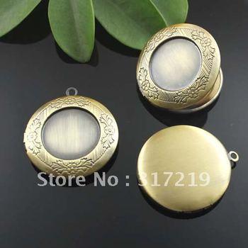 32mm DIY Necklace Pendants,Copper Antique Bronze Pendant European style Prayer Craft Photo Frame Locket Box