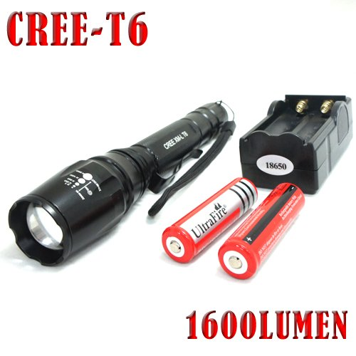 Super Bright Cree T6 LED Flashlight torch 1600 Lumens 7W Zoomable Torch flash light free shipping