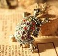12pcs/Lot 4.2*3.2cm alloy multicolor rhinestone turtle Necklace Girl Necklace  UN045 Uhugs Jewelry wholesale