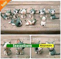 Retail 9pcs/set Cute Cheese Cat Phone Straps Charm / Key Ring  (SC-09)
