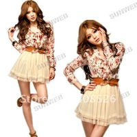 2014 Fashion Women Stylish Chiffon dresses Floral Bowtie Tunic Tulle Mini Dress+ BELT PINK New free shipping 2799
