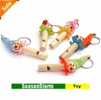 Kid's Toy Cute Wooden Clown Whistling Keychain (SH-19)