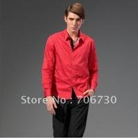 (5PCS/LOT) Free Shipping,2012 Newest Hot,Wholesale Noble velvet stitchingdot long-sleeved shirt,Men's Leisure 4ColorsShirt SA094