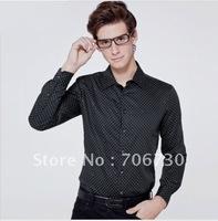 (5PCS/LOT) Free Shipping,2012 Newest Hot,Wholesale Noble velvet stitchingdot long-sleeved shirt,Men's Leisure 4ColorsShirt SA095