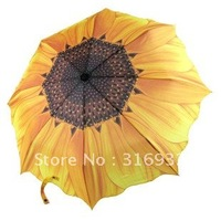 Free shipping Retail 1 piece Novelty yellow Sunflower folding Manual Sun Umbrella free shipping