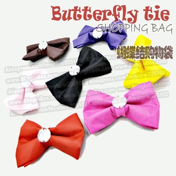 Butterfly tie nice Shopping bag Eco-friendly , only 10pcs/lot min-order,mixed many colors reusable folding foldable handle Bag