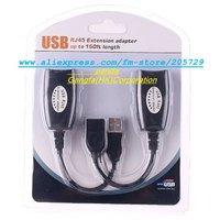 Free Shipping Retail packaging USB Lan Cable USB RJ 45 Extension adapter up to150ft length LAN EXTENSION ADAPTER CABLE Cable