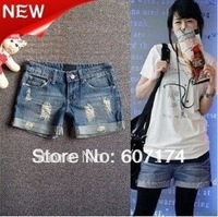 2013 New Arrival Elegant ladies distrressed Denim shorts,Boots pants,casual jeans,S:S-XXL,#1276,PROMOTION&RETAIL