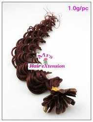 1.0g/pc,33# Burgundy color,Deep wave nail remy hair, 16&quot;,18&quot;,20&quot;,22&quot;,24&quot;,26&quot;,28&quot;,30&quot;,pre bonded U tip hair,free shipping(China (Mainland))